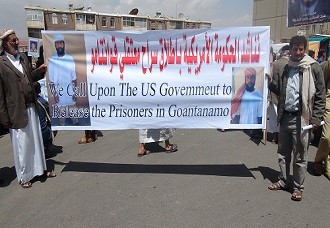 Protest in Sana'a Calls for the release of Yemeni GITMO Detainees Guantanamo Detainees in the 8th week of Hunger Strike